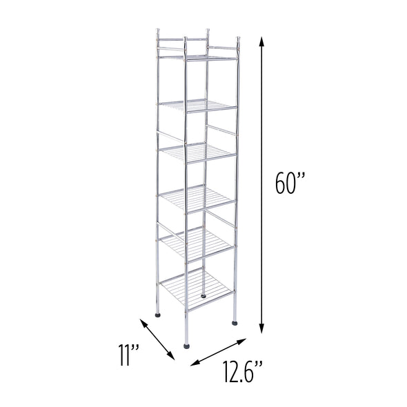 6-Tier Bathroom Storage Shelving Unit, Chrome