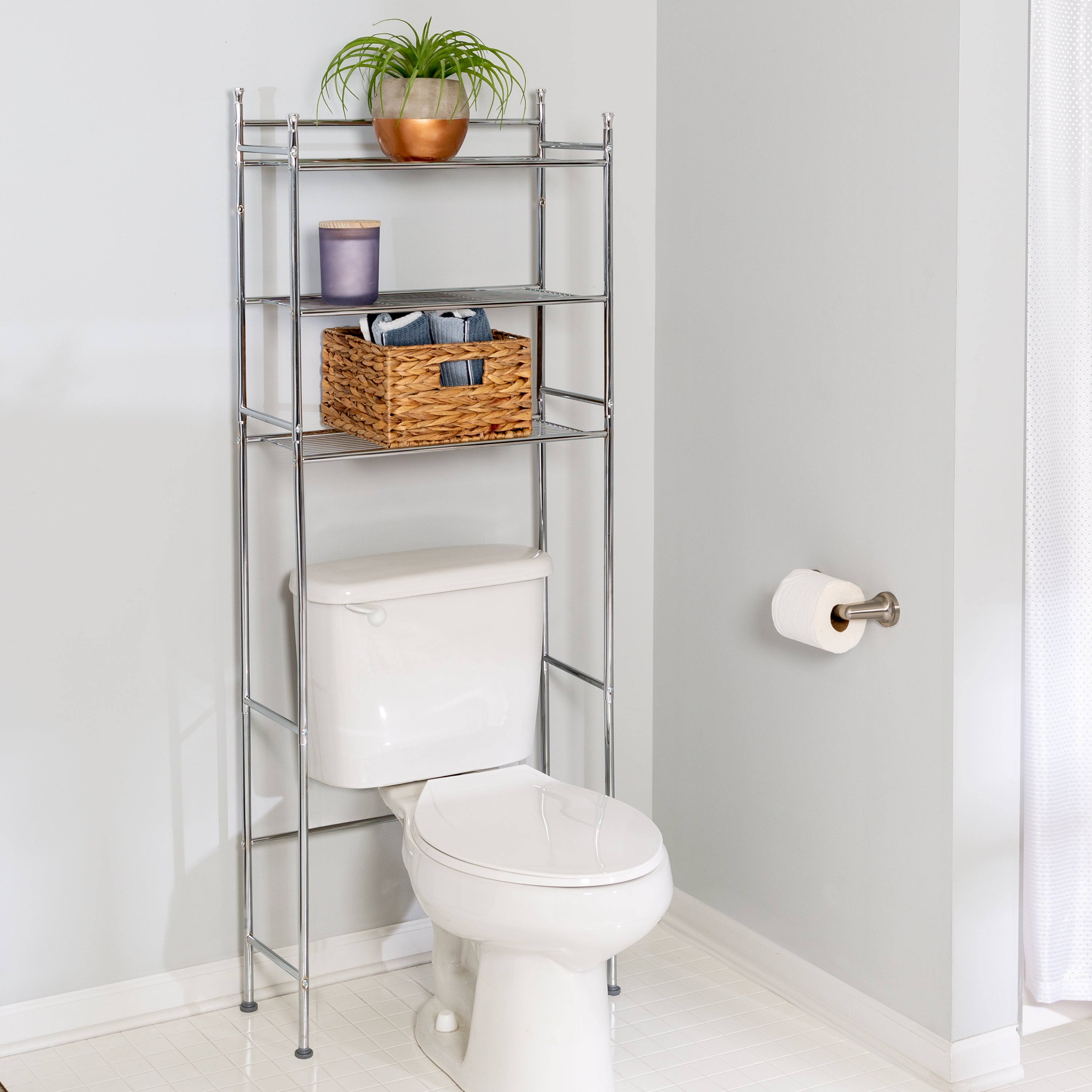 3 Tier Over The Toilet Shelving Unit Chrome