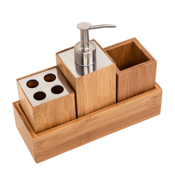 3-Piece Bamboo Bathroom Countertop Storage Set