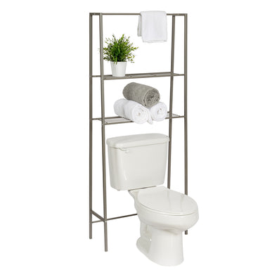 Over-The-Toilet Steel Space Saver Shelving Unit, Grey