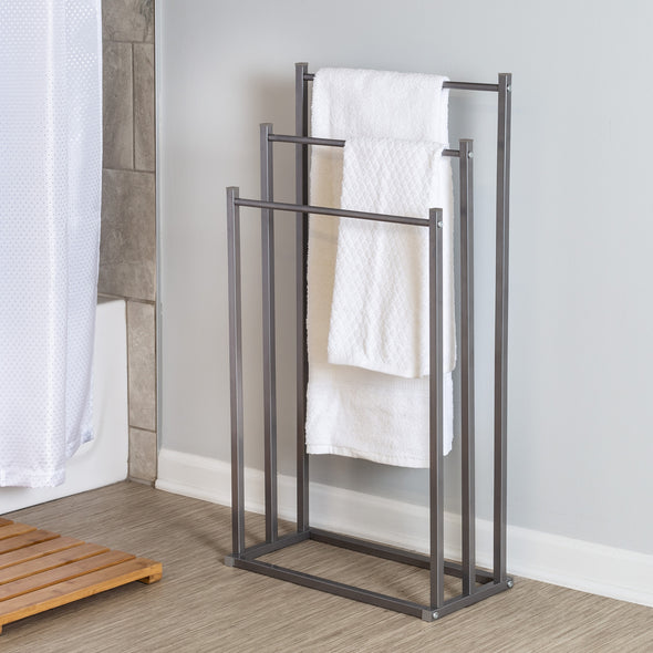 3-Tier Steel Bathroom Towel Rack, Grey