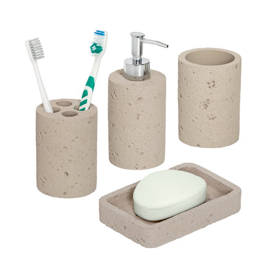 4-Piece Bathroom Accessories Set, Natural