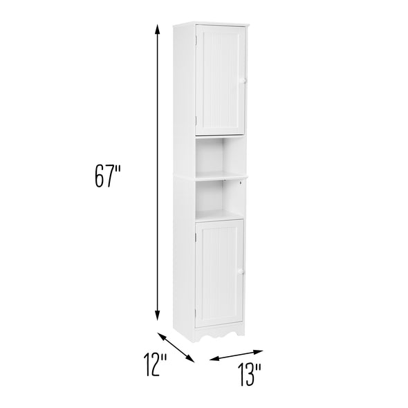 Bathroom Storage Cabinet Tower With Shelves, White