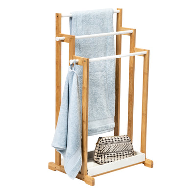 3-Tier Bamboo Bathroom Towel Rack, White
