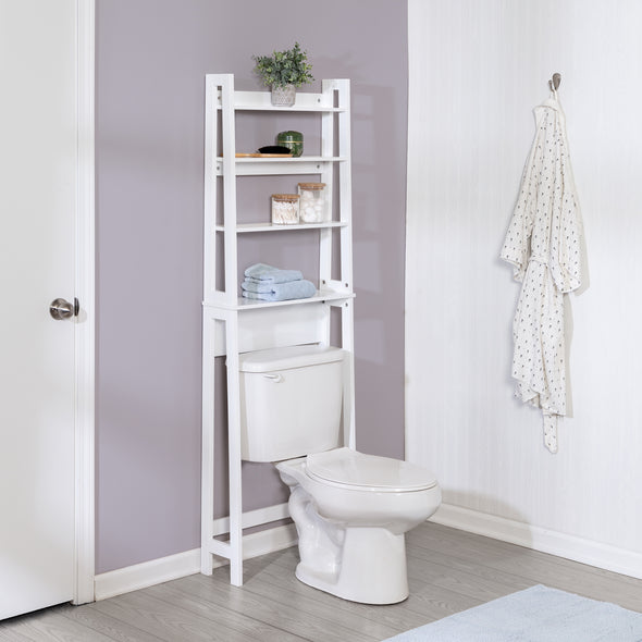 Over-The-Toilet Bathroom Shelving Space Saver, White