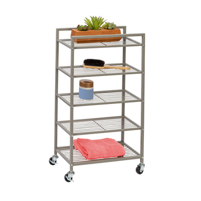 Rolling Bathroom Steel Storage Cart, 5 Tiers