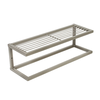 Steel Bathroom Slatted Shelf with Towel Bar