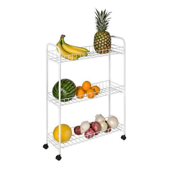3-Tier Rolling Household Storage Cart, White