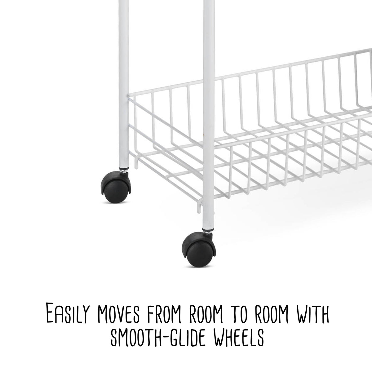 White Honey-Can-Do Crt-01149 3-Tier Laundry Cart 23 L x 8 W x 31 H ...