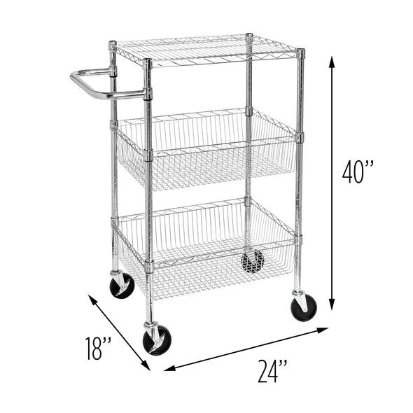 3-Shelf Rolling Utility Cart, Chrome