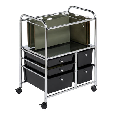 5-Drawer Rolling File Cart, Chrome & Black