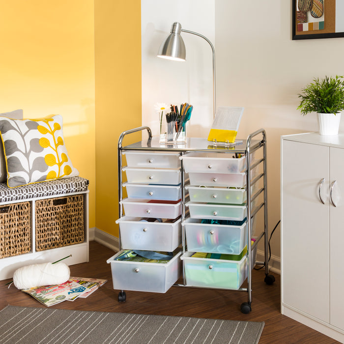 ... 12-drawer-rolling-cart & Rolling Storage Cart and Organizer with 12 Plastic Drawers