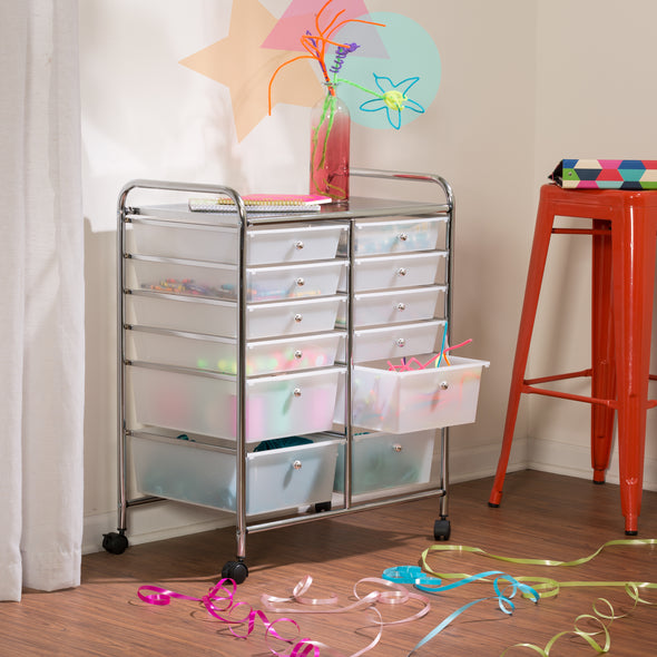12-Drawer Rolling Storage Craft Cart and Organizer