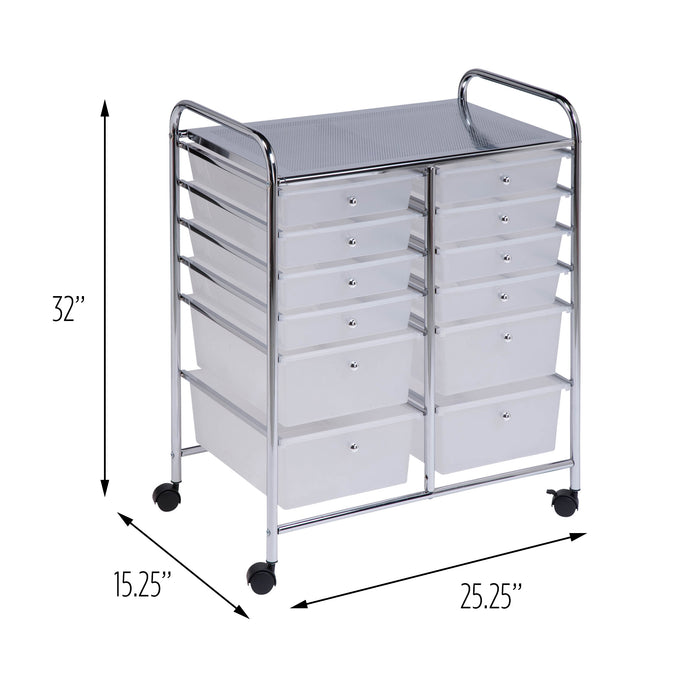 Rolling Storage Cart and Organizer with 12 Plastic Drawers