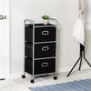 3-Drawer Rolling Fabric Cart, Black