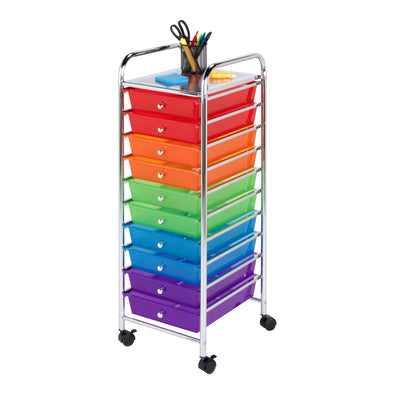 10-Drawer Metal Rolling Storage Cart, Rainbow