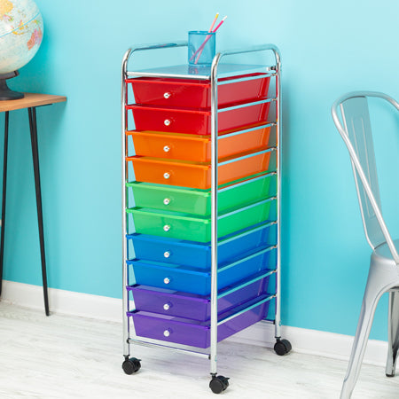 10-Drawer Multicolored Organization Cart