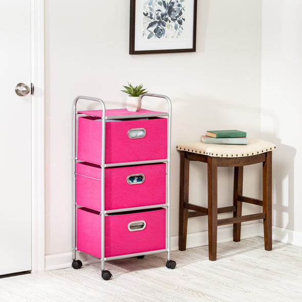 3-Drawer Rolling Fabric Cart, Pink