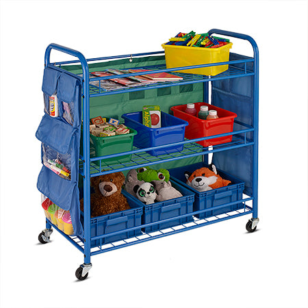 All Purpose Rolling Teacher's Cart, Blue - honeycando.com