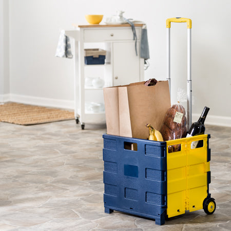 Fold-Up Rolling Storage Cart with Handle, Blue & Yellow