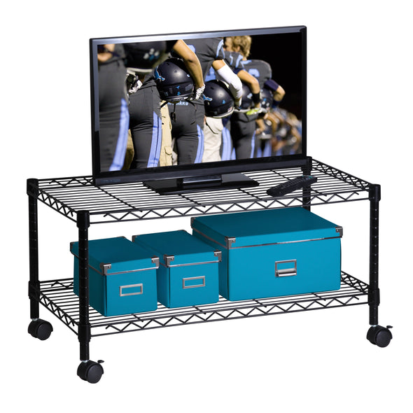 2-Tier TV Stand and Media Cart, Black