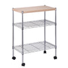 Mini 3-Tier Dining Cart, Chrome/Wood
