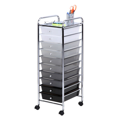 10-Drawer Rolling Storage Cart, Shaded