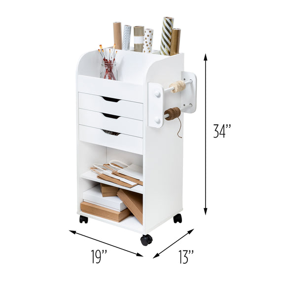 Wrapping Paper Storage and Rolling Craft Cart with Drawers, White