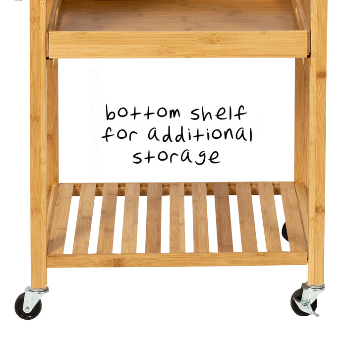 38-Inch Bamboo Kitchen Cart with Wheels