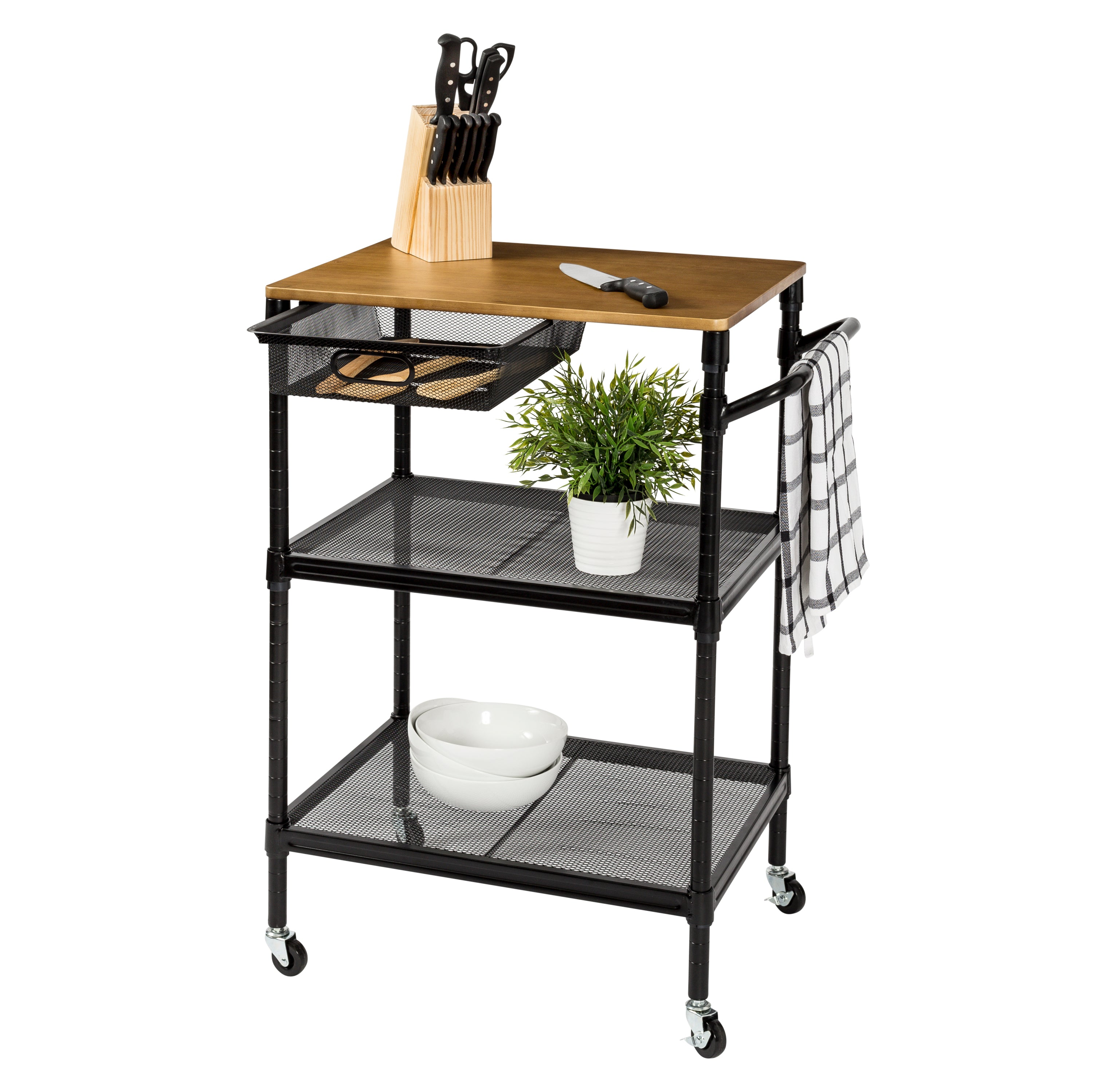 36 Inch Kitchen Storage Cart With Wheels Drawers And Handle Black