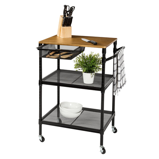36-Inch Kitchen Storage Cart with Wheels, Drawers and Handle, Black