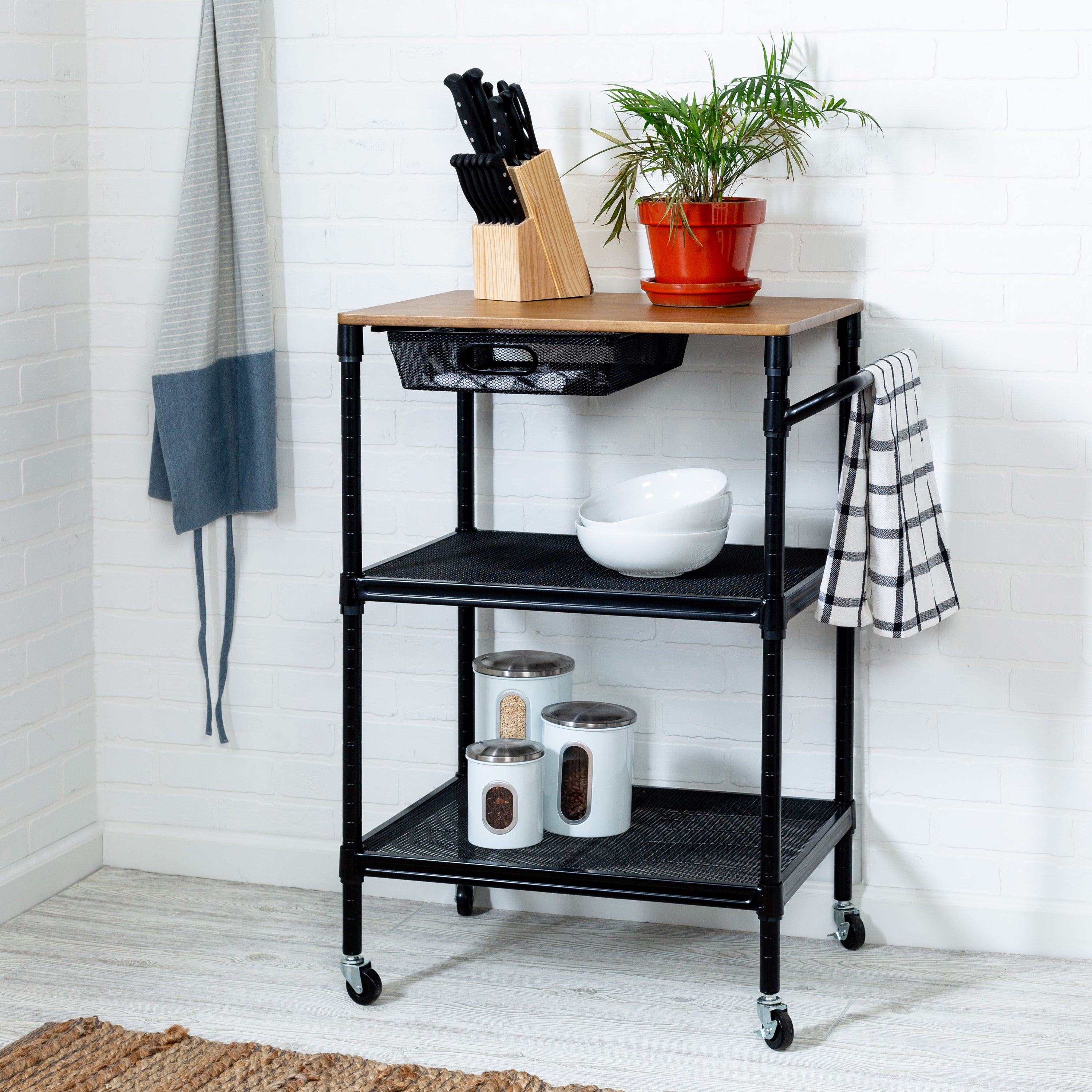 36 Inch Kitchen Storage Cart With Wheels Drawers And Handle
