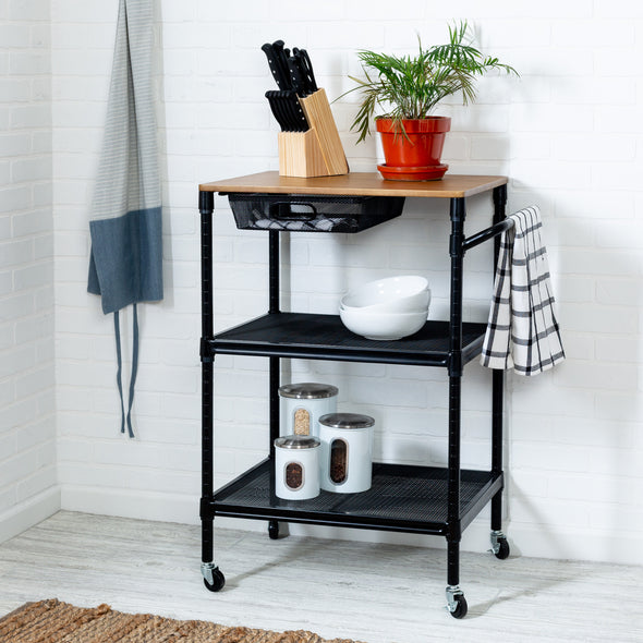 36-inch-kitchen-storage-cart-with-wheels-drawers-and-handle-black