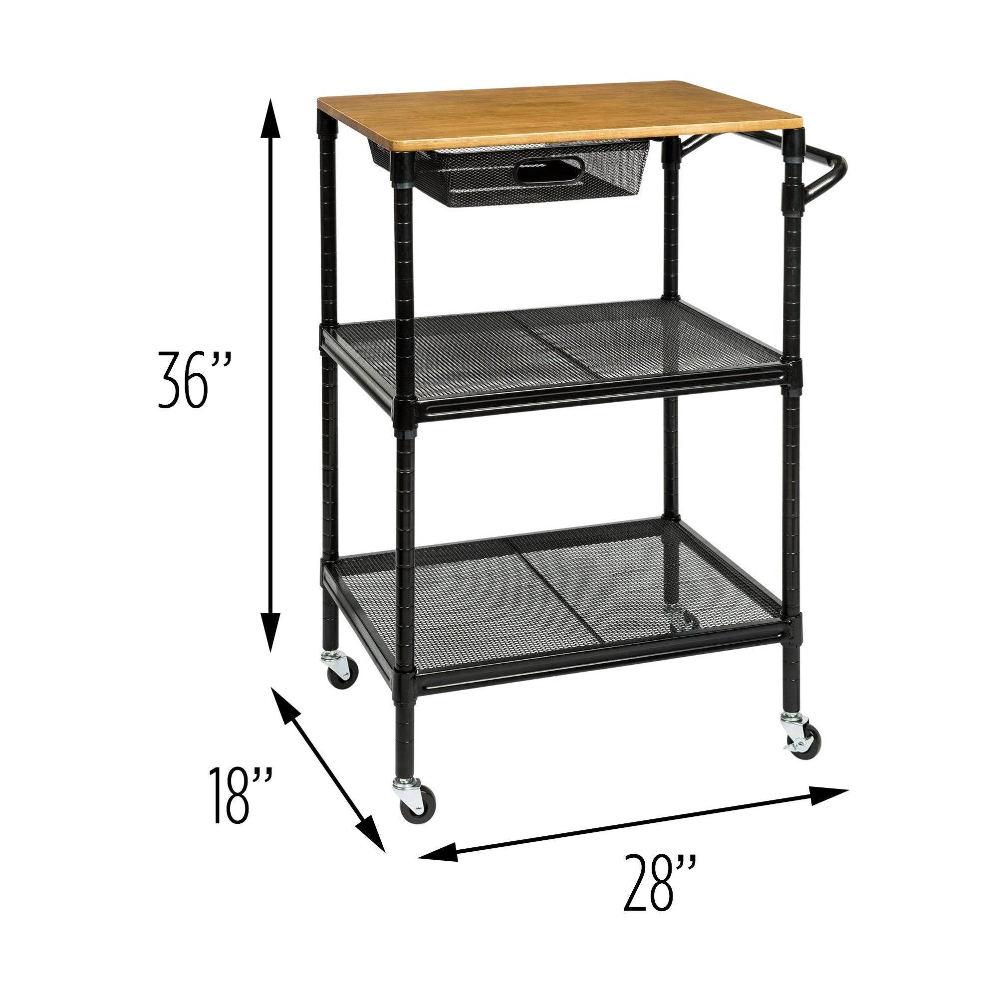 36-Inch Kitchen Storage Cart with Wheels, Drawers and Handle ...