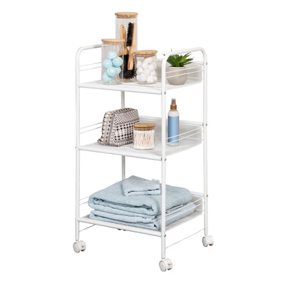 3-Shelf Rolling Wire Cart, White