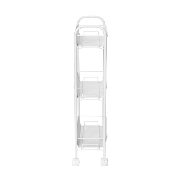 Slim Rolling Wire Cart with 3 Baskets, White