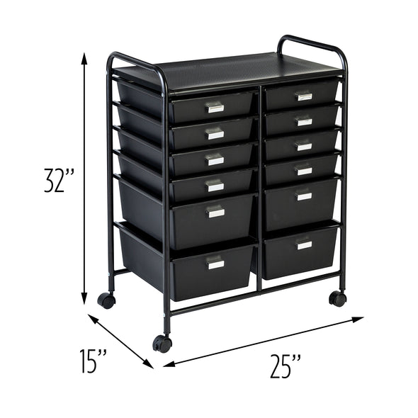 12-Drawer Rolling Storage and Craft Cart Organizer, Black