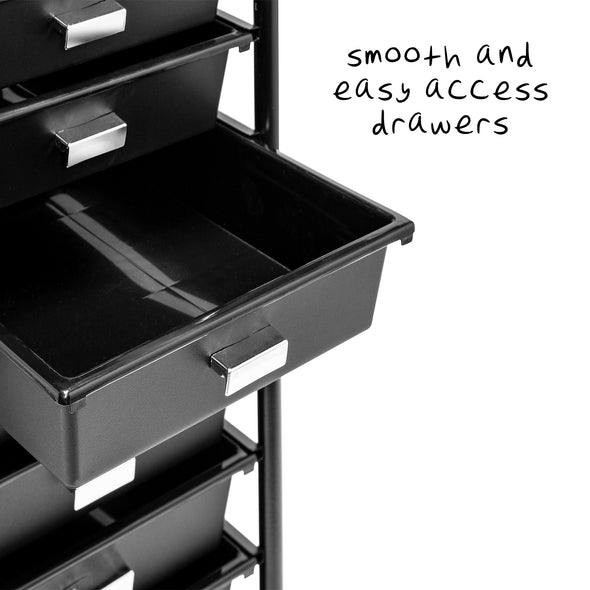 10-Drawer Rolling Storage & Office Cart, Black