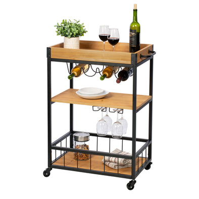 Industrial Rolling Bar Cart with Removable Serving Tray