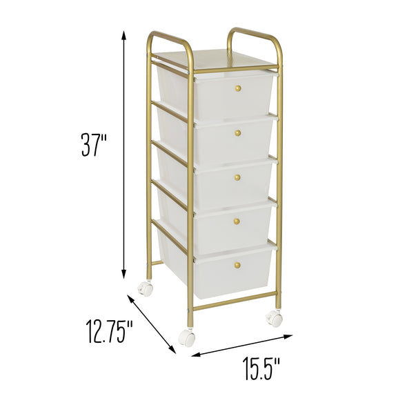 5-Drawer Rolling Storage Cart With Plastic Drawers, Gold