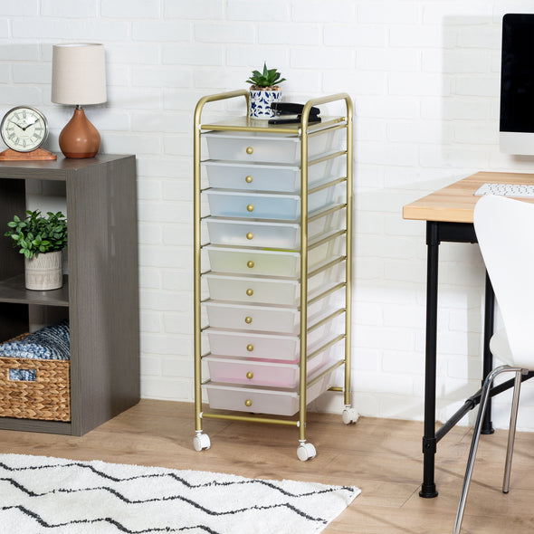 10-Drawer Rolling Storage Cart With Plastic Drawers, Gold