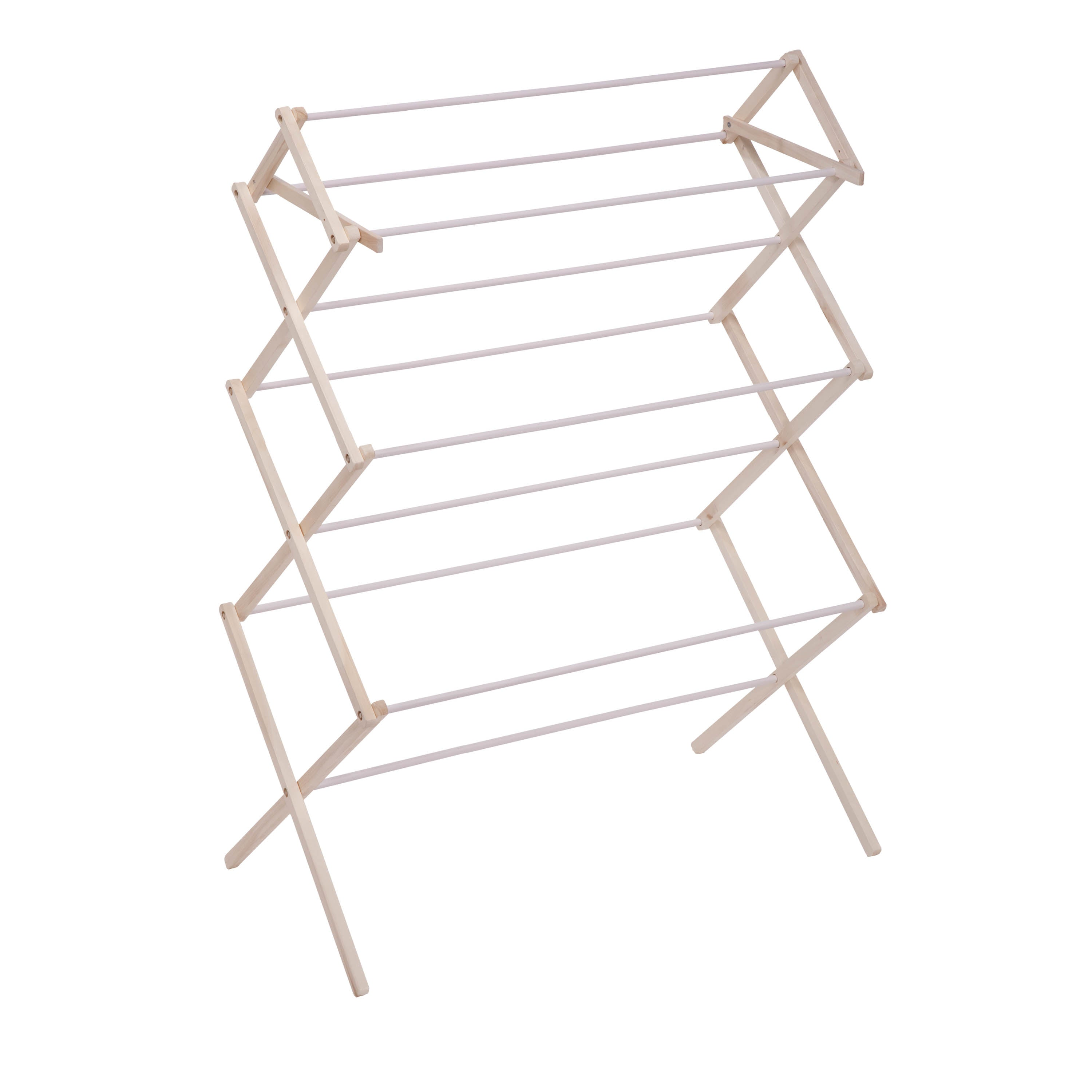 Heavy Duty Collapsible Clothes Drying Rack White Natural