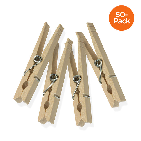 50-Pack Wooden Clothespins with Spring
