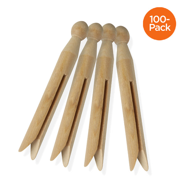 100-Pack Classic Round Wooden Clothespins