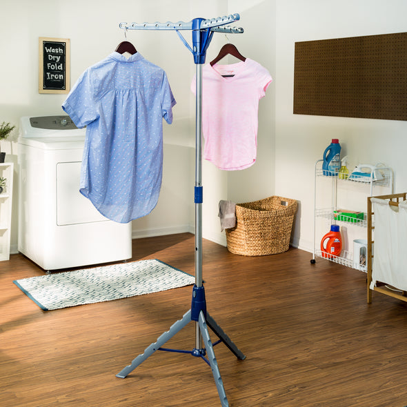 Tripod Clothes Drying Rack, Blue and Silver