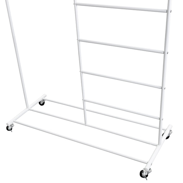 Rolling Multi-Section T-Bar Clothes Drying Rack, White