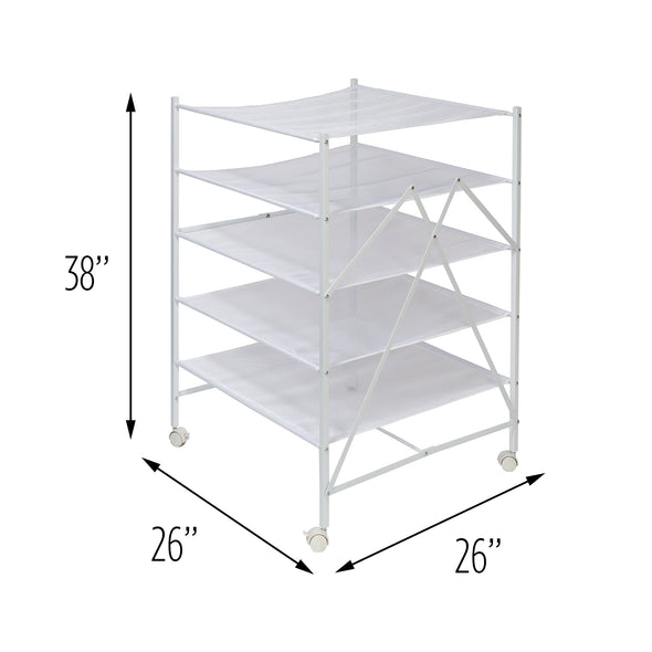 5-Tier Collapsible Rolling Clothes Drying Rack, White