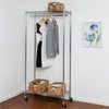 Heavy Duty Rolling Garment Rack with Two Shelves, Chrome