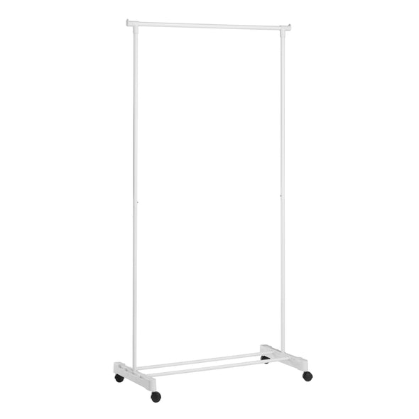 Rolling Garment Rack with Shoe Shelf, White