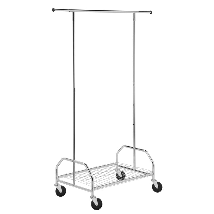 Rolling Garment Rack with Shelf, Chrome